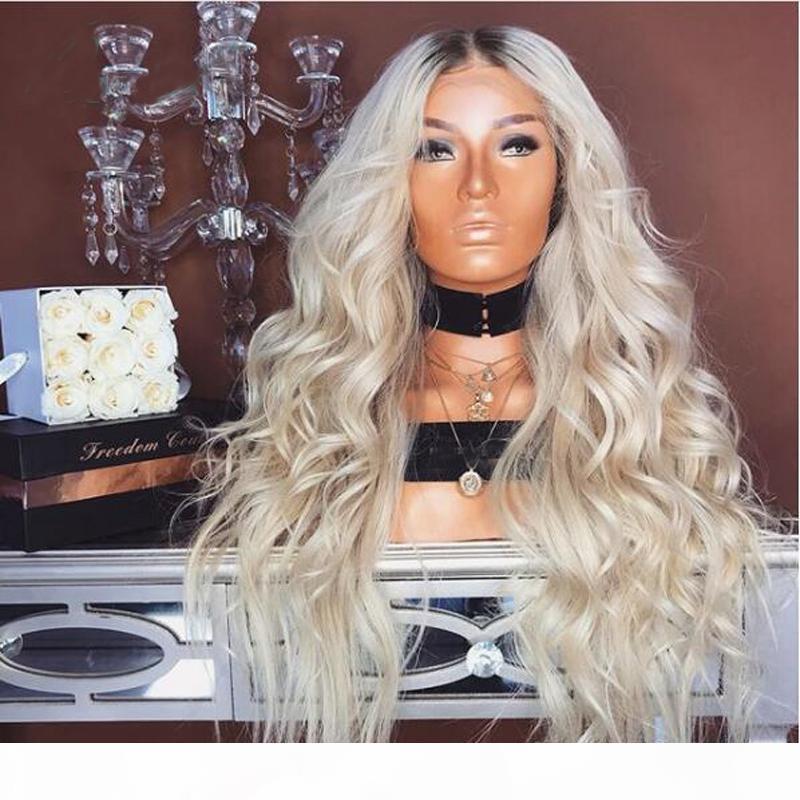 Ombre 1B 613 Wave larghe parrucca piena del pizzo della parrucca pre-strappata 100% parrucca dei capelli umani vergini brasiliani con radici nere