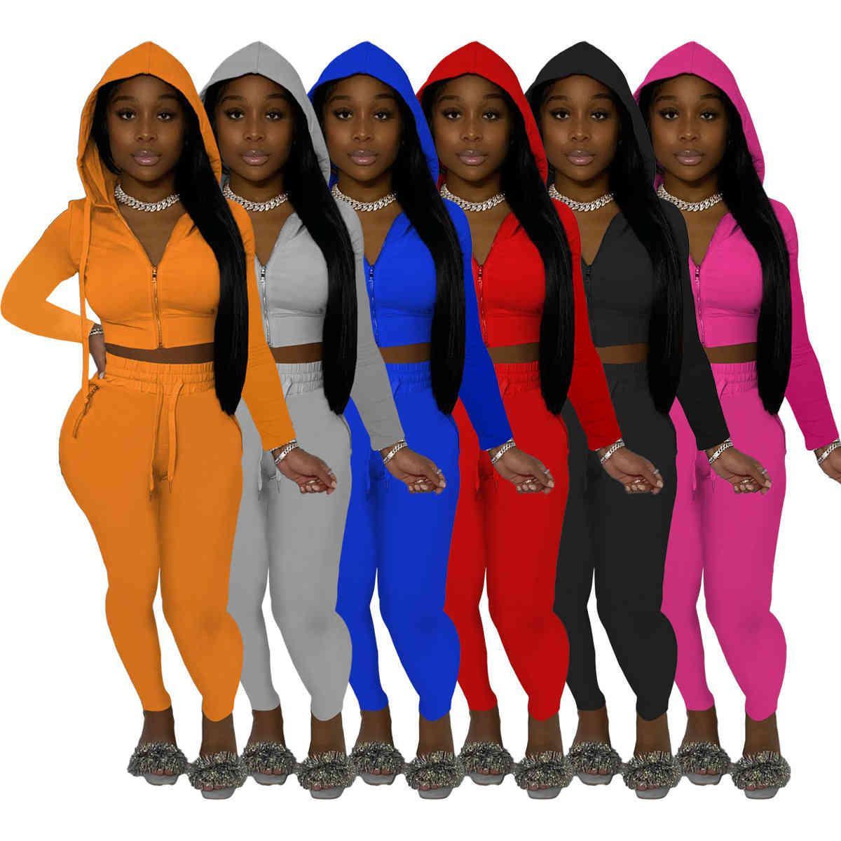 Kadın Eşofman Tasarımcısı Katı Renk Moda Kapüşonlu İki Parçalı Setleri Rahat Fermuar Ceket Koşu Takım Elbise Kulübü Sıkı Pantolon Tayt Bahar Güz Giyim 877