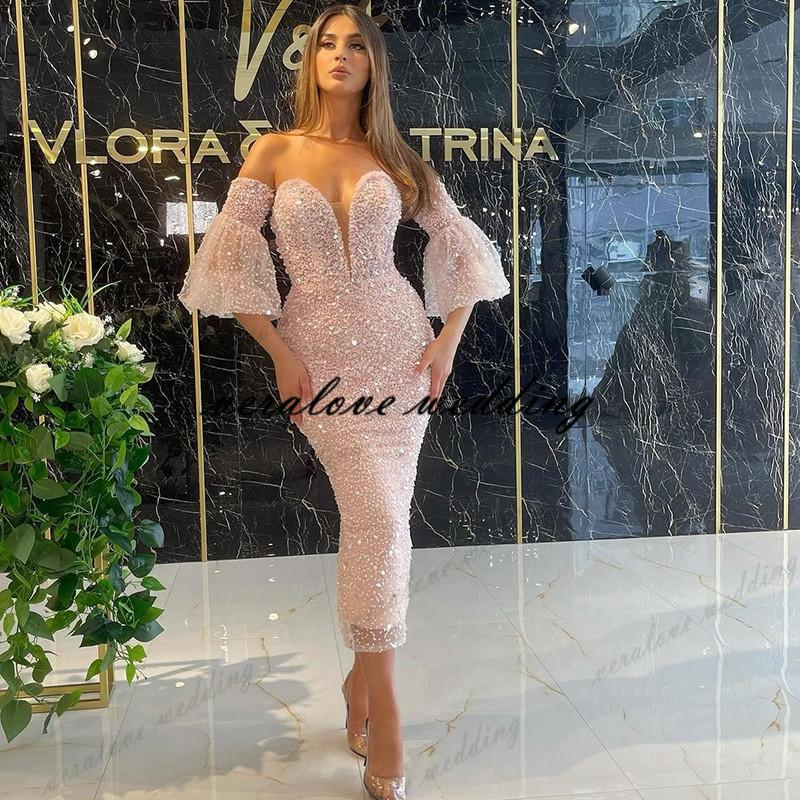 vestidos formale Evening Dresses Women Party Night Sequins Mermaid Short Prom Dress Arabic Cocktail Club Gowns