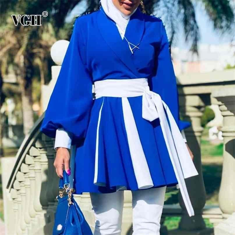 عارضة الأزرق الدانتيل يصل خندق bowknot للنساء الخامس الرقبة طويلة الأكمام ضرب اللون تونك المعاطف الكورية الإناث الربيع الأزياء 210531