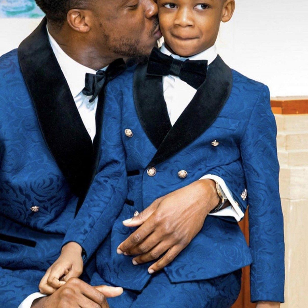 Royal Blue Kids Formal Wear Boy's Formate On Formate Onefits для обручального кольцевого носителя обеда день рождения вечеринка 2 штуки набор куртки (куртка + брюки + лук) на заказ Размер 12