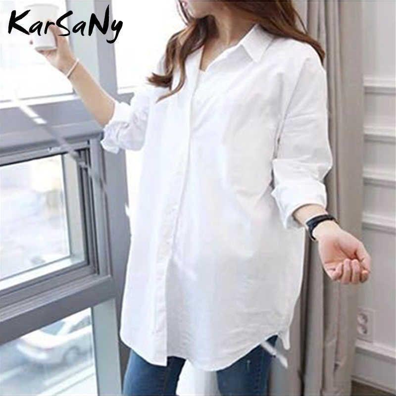 Camisa blanca de las mujeres de gran tamaño de algodón femme tops más tamaño 5xl camisas largas para blusa de manga de primavera túnicas