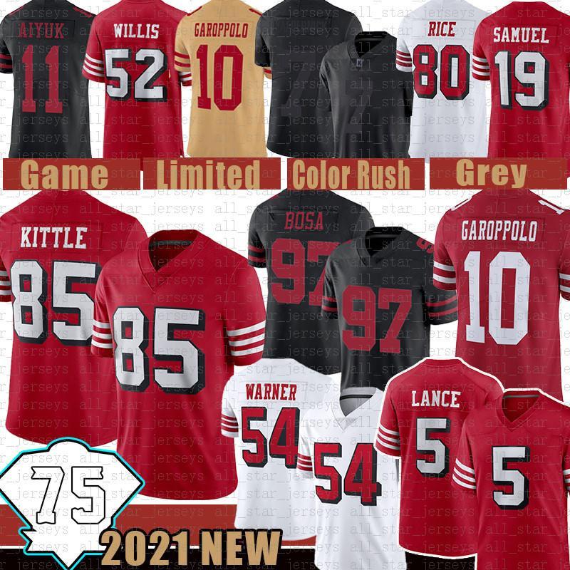 "Trey Lance 85 George Kittle 75e Jersey Football Fred Warner Nick Bosa San ""Francisco"" 49ers ""Colin Kaepernick Jimmy Garoppolo Jerry Rice Patrick Ford"