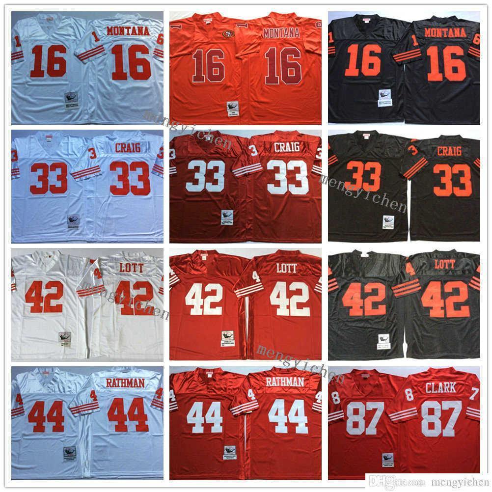 NCAA Men Football 16 Joe Montana 33 Roger Craig 42 Ronnie Lott 44 Tom Rathman 87 Dwight Clark Jerseys Vintage Embroidery Top Quality
