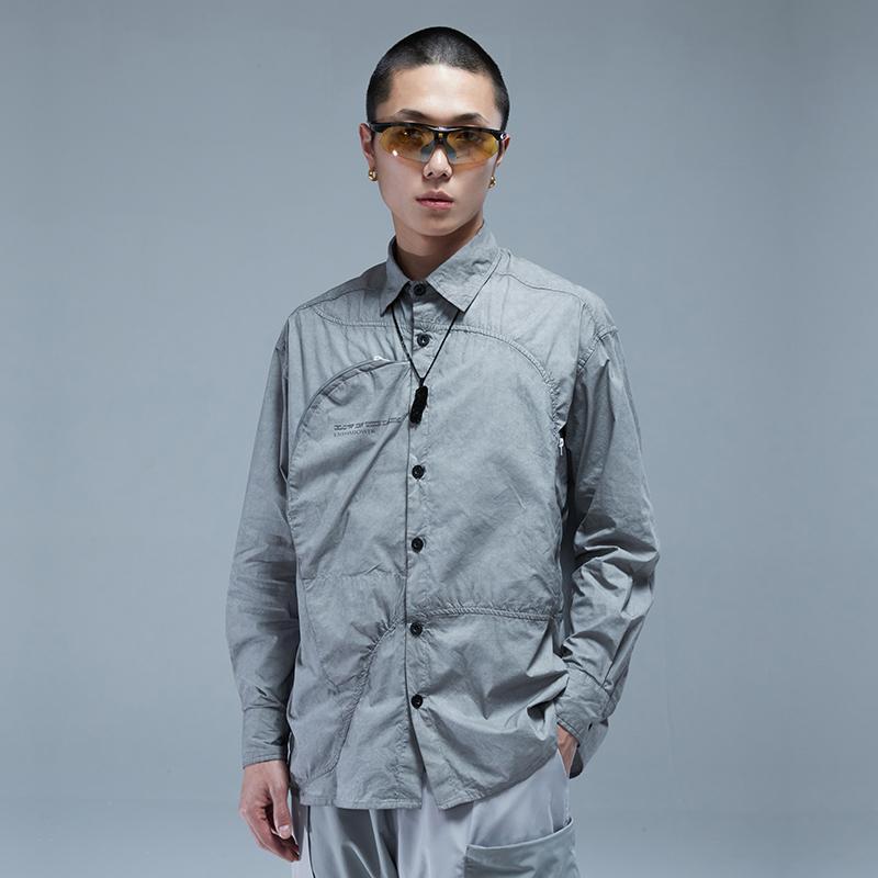 비대칭 셔츠와 비대칭 커팅 곡선 포켓 Techwear Aesthetic Streetwear 일본식 남성 캐주얼 셔츠