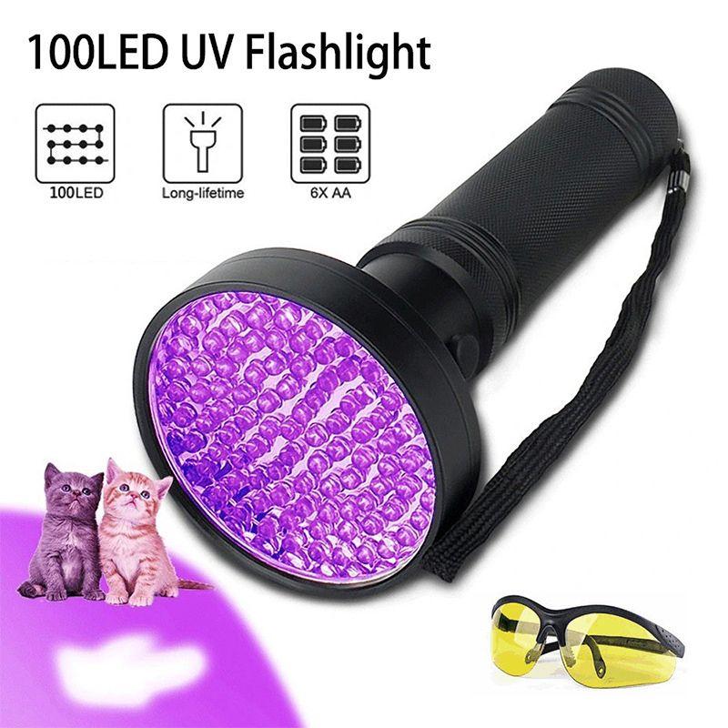 UV LED Ultraviyole El Feneri Lambası 100 Leds Ultra Menekşe Torch Işık Blacklight Dedektörü Köpek İdrar Için Pet Lekeleri Ve Yatak Böcek Floresan Para Dedektörü Akrep