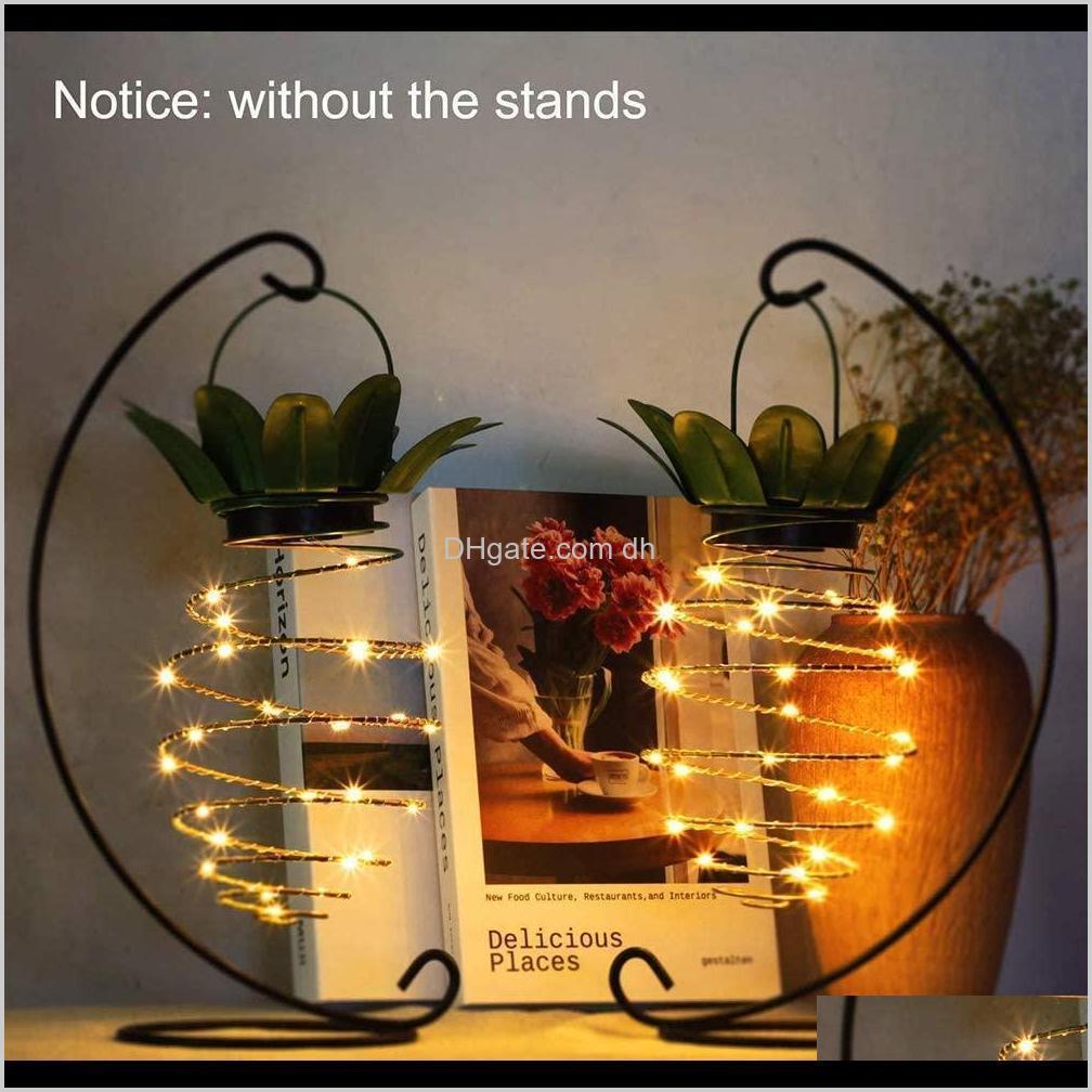 Garden Pine Shape Solar Hanging Light Waterproof Wall Lamp Fairy Night Lights Iron Wire Art Home Decorations Owf2719 Egpp Kqvcd