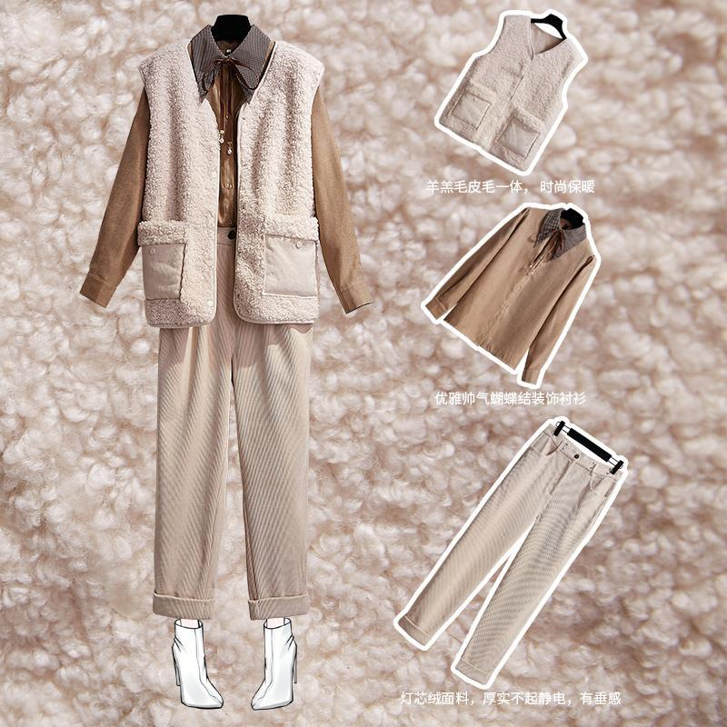 Women's Suits & Blazers Pants Vest Three-piece Suit Female Autumn And Winter Wear High-reduction Trousers Late