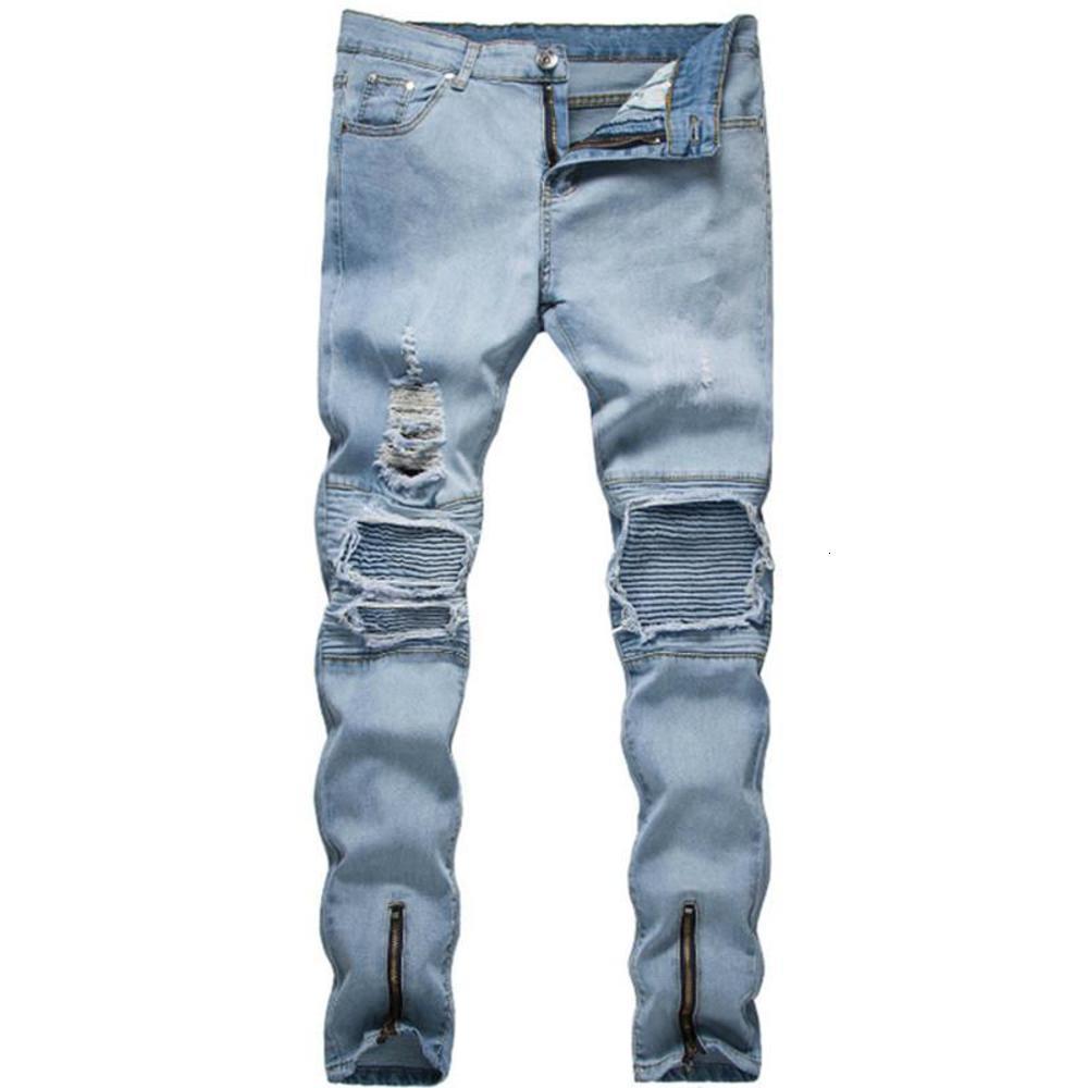 Männer Stretchy Ripping Skinny Biker Stickerei Drucken Jeans Zerstörte Loch Klebegeschlagene Slim Fit Kratzt Hochwertige Denimhose