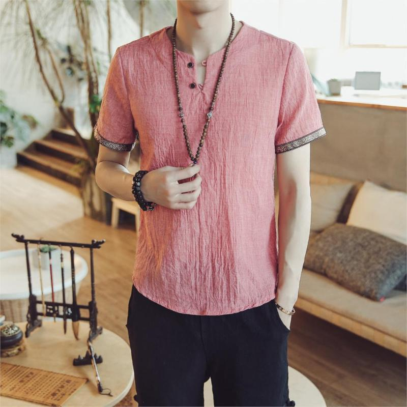 Chinese Style Men's Cotton Linen Brand Shirt Summer Loose Short-sleeved Thin China Drop Top Clothes Casual Shirts