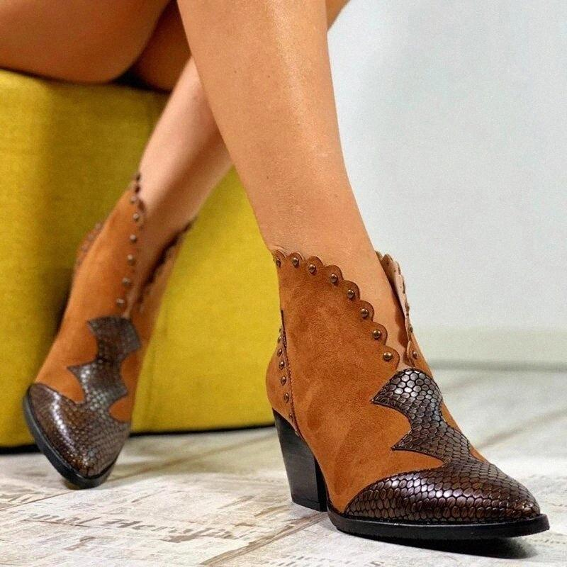 Puimentiua 2019 Women Autumn Winter Pointed Leather Cowboy Ankle Boots Women Wedge High Heel Booties Snake Print Western Boots Ladies x8Eu#
