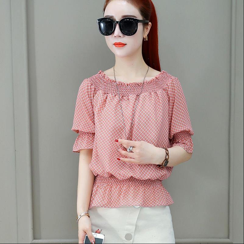 Summer Style Chiffon Women Shirt Slash Neck Off Shoulder Polka Dot Printed Blusas Tops DF3723