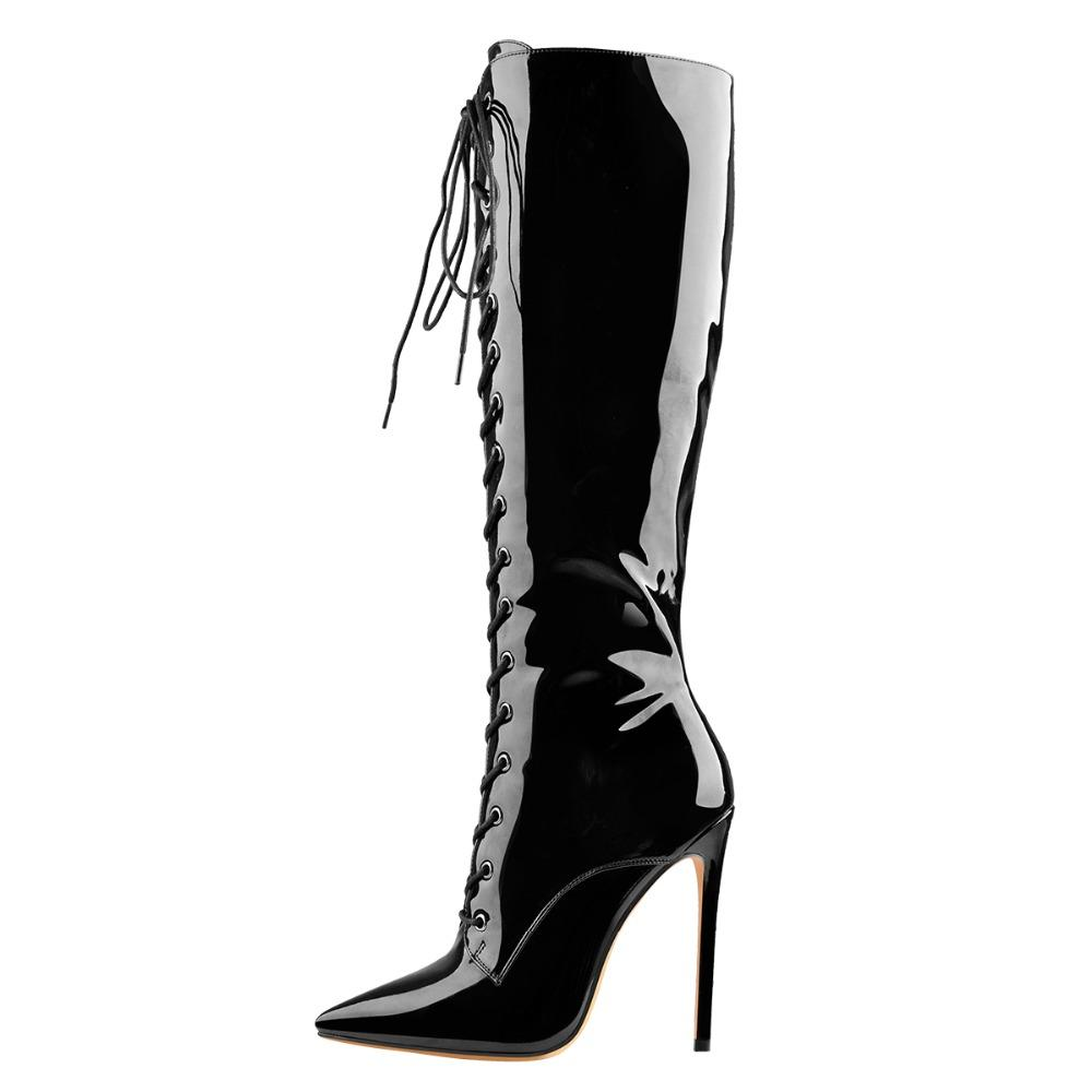 2021 winter fashion knee boots black pointed toes sexy high heels patent leather women shoes long footwear