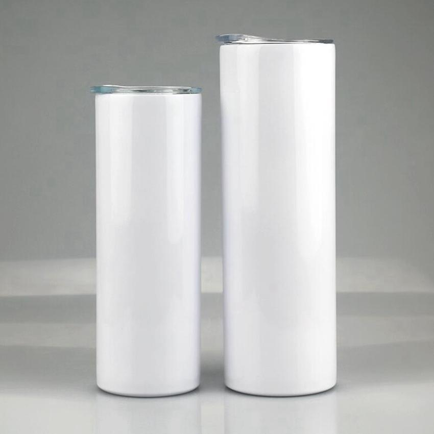 20 Unzen leerer Sublimation Gerade Tumbler Edelstahl Kaffeetassen Skinny Cups mit Deckel und Kunststoff Stroh ZZA