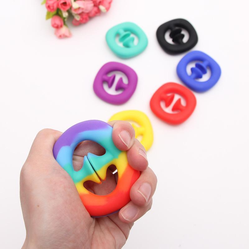 Rainbow Zappeln Greife Schnappdraht Squeeze Spielzeug Hand Snapper Hände Kraft Griff greift Schnüre Sensory Toys Autismus Stress Relief