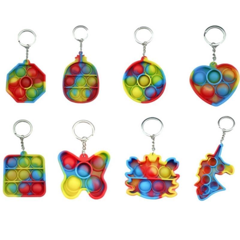 Tie Dye Fidget Push Pop PoP Poo su burbuja Poppers Board Simple Tik Tok Tok Tok Key Butterfly Cangrejo Unicornio Piña Formas Llavero Puzzle GG4E8RPG