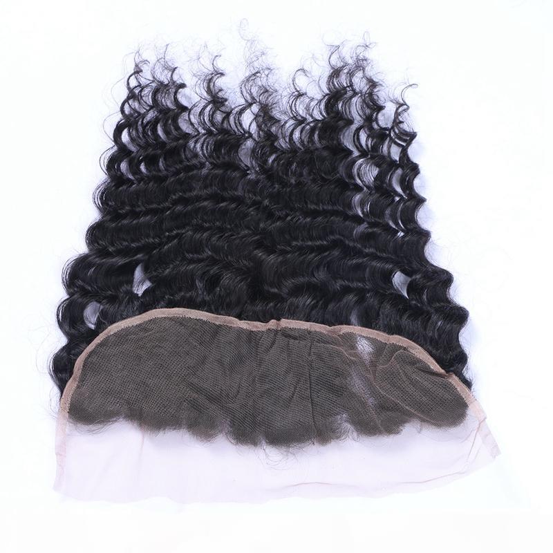 رخيصة البرازيلي العذراء الشعر موجة عميقة 13x4 الدانتيل أمامي إغلاق ابيض عقدة الحرة ثلاثة الأذن الأذن الأذن إلى الأذن