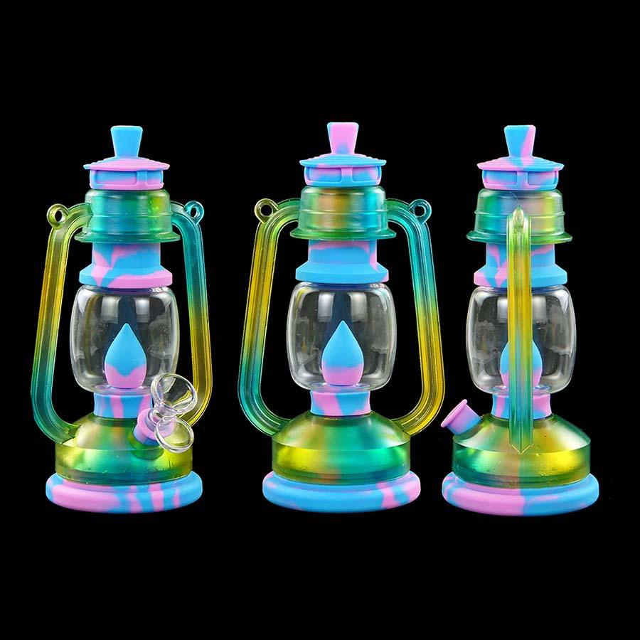 İnce Damla İpuçları Renkli Pageant Cam Silikon Oil Rig Su Sigara İçme için