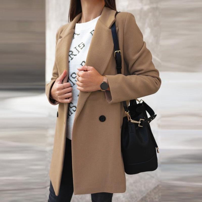 Женщины женские пальто женщин осень зима мода широкий отворот двойные кнопки теплые пальто