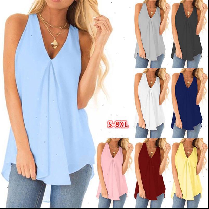 Boy Giyim Kolsuz Bayan Kadın Bluzlar Şifon Gömlek Yaz Gevşek Katı Renk Bayan Bluz Artı Boyutu Casual Gömlek Tops