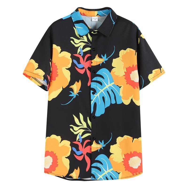 Erkek Casual Gömlek Yaz Satmak Gömlek Ince 2021 Moda Baskı Kısa Kollu Hawaii Plaj Hırka Giyim