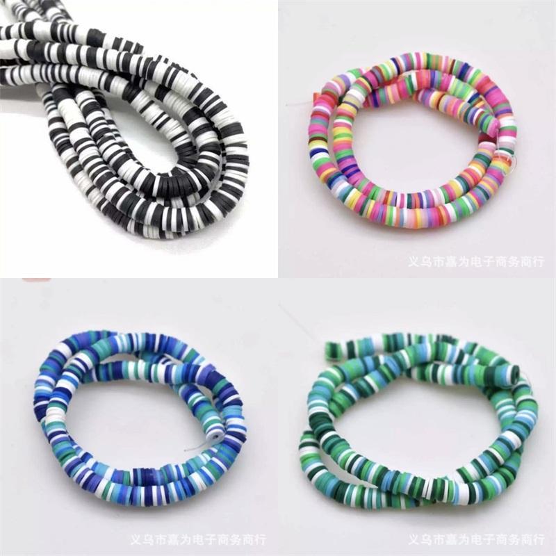 1 String 6mm DIY Bijoux Constatations Clay Perles Mélanger Couleur et Mélange Bracelet Design Bracelet Boho Bijoux Boucle d'oreille Spacer Beads Disk Grossiste en gros 1028 T2
