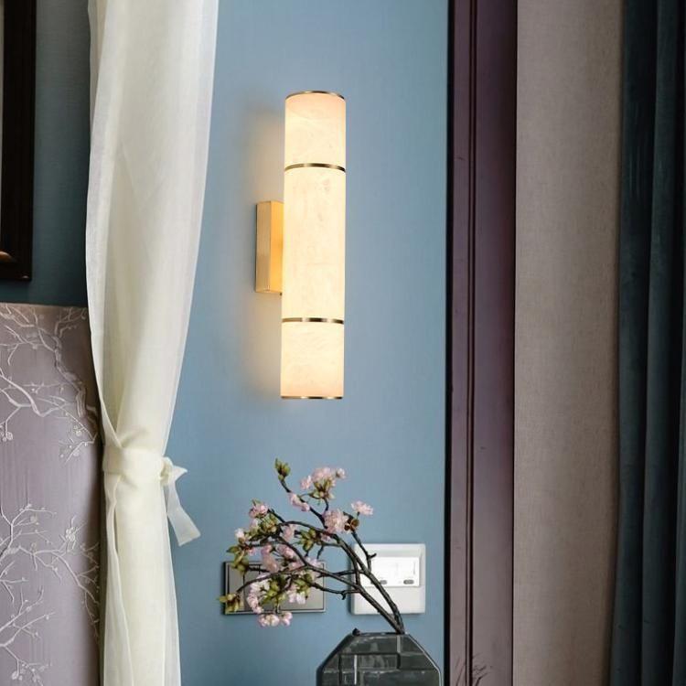 Lâmpada de parede de mármore de cobre villa el quarto sala de estar tv fundo corredor cilíndrico cilíndrico
