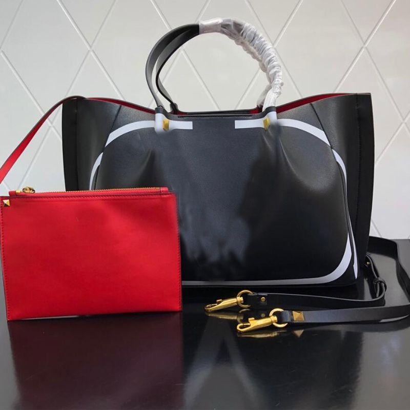 Calfskin Shopping Sac Grand Capacité Paquet Femme Sac à main de haute qualité Cuir Véritable Cuir rétro Rivet Rivet Rivet en métal Uni Portefeuille interne