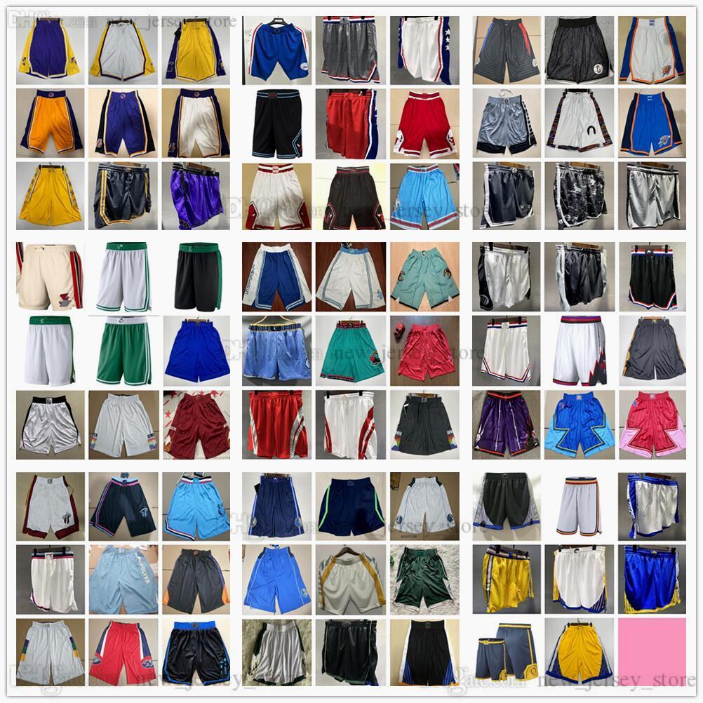 Souris de basketball imprimé 2021 Team Short Sport Pantalon avec Pocket News City Blue Blanc Blanc Noir Violet Violet Imprimer Bonne qualité Poches Taille XS-XXL