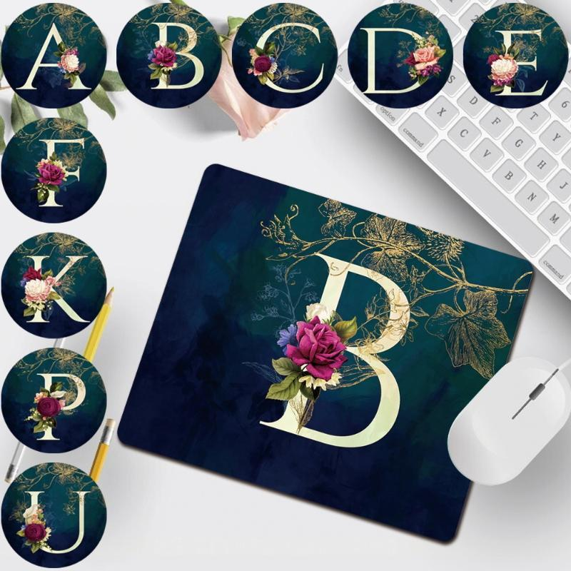 Mouse Pads & Wrist Rests Universal Computer Pad 26 Letter Patterns Print Series Portable Gaming Accessories Mat PU Leather Mousepad