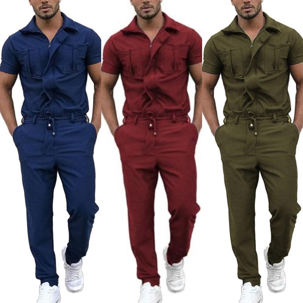 Mode Männer Jumpsuit Stilvolle Kurzarm Taschen Kordelzug Zip Jumpsuit Coverall Arbeitskleidung Streetwear Casual Strampler X0601