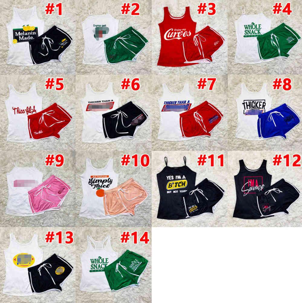 Women Tracksuits Designer Two Piece Shorts Pants Set Letters Pattern Printed Suspender Yoga Outfits Sportswear