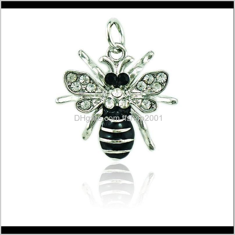 Jinglang Fashion Bee Buncle Black Enamel Rhinestone Животные Подвески DIY Подвески Для Ювелирных Изделия Аксессуары Xciew JD7I0