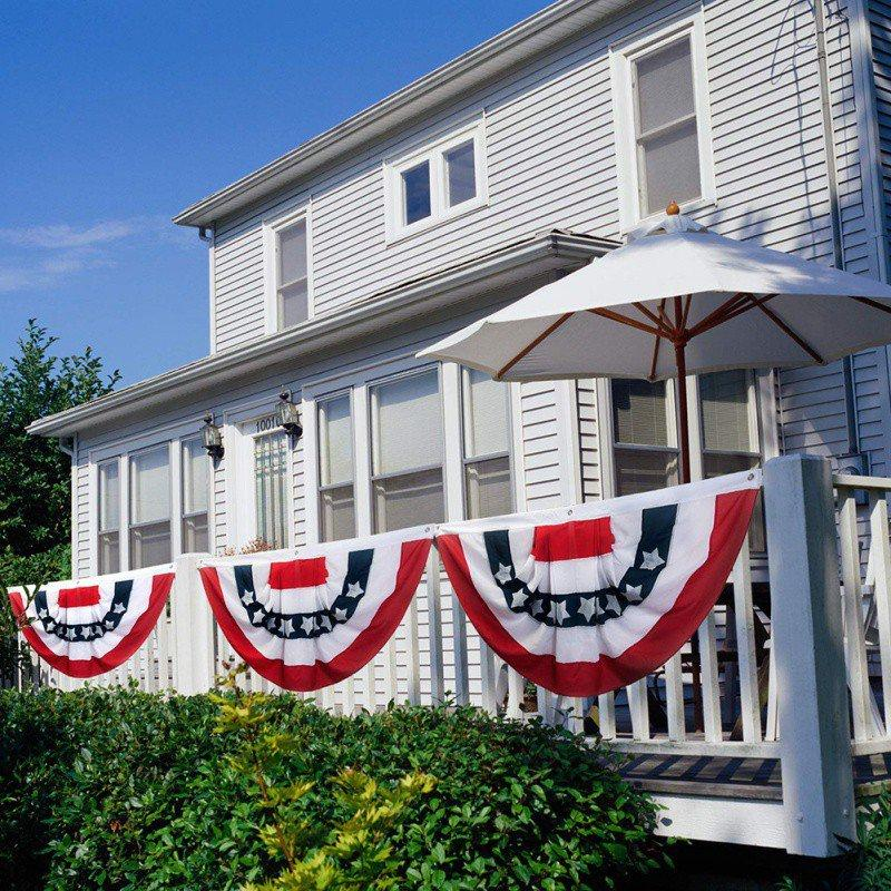 مطرز التجاعيد المشعر شكل العلم الوطني ليوم الاستقلال الأمريكي ديكور المنزل مطوي المشجعين الرايات نصف الأعلام X