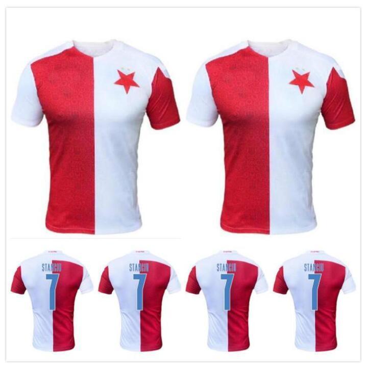 2021 SK Slavia Praga Jersey Casa Branco Vermelho 21 21 Petr Sevcik Stanciu Simon Deli Peter Olayinka Abdallah Sima Futebol Camisetas Maillot de pé