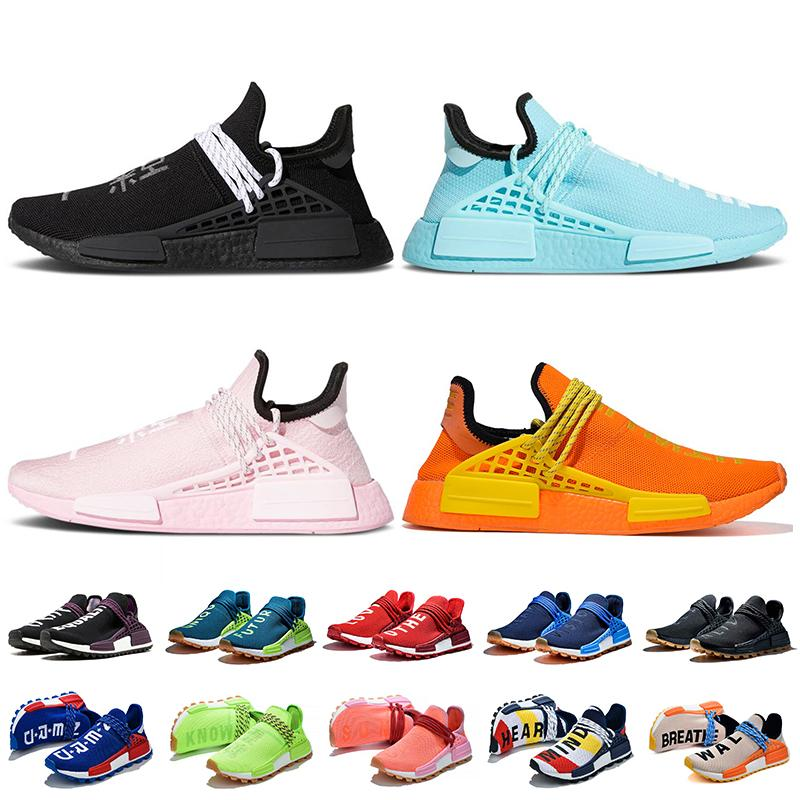 2021 Adidas Pharrell Williams NMD Human Race Yeezy 운동화 여성 남성 스니커즈 블랙 그린 핑크 오렌지 Hu Trail Nerd Solar Pack Extra Eye Trainers