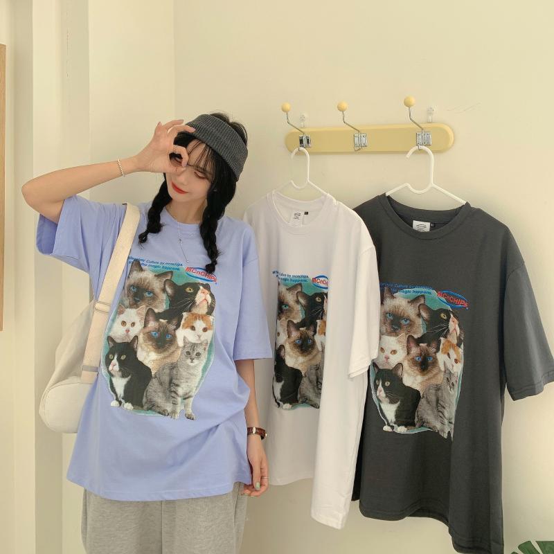 Damen T-Shirt Sommer Design Sense Kätzchen Drucken Kurzarm Frauen Lose Mittellangen Tops Niedlichen College-Stil