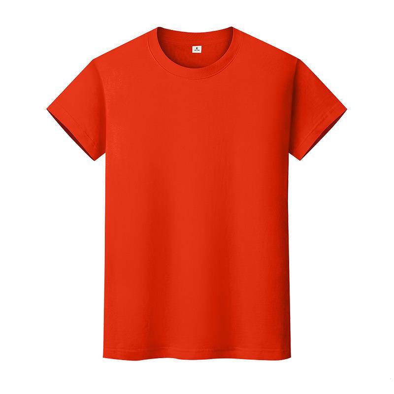 Nueva camiseta de color sólido de cuello redondo Camisa de fondo de algodón de verano de manga corta para hombre y mujer de manga corta ika9