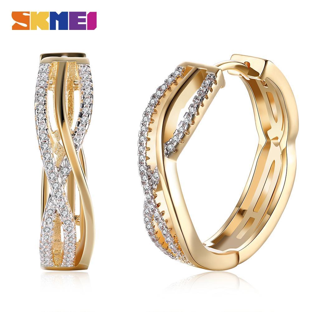 SKMEI LKN007 Stud Line Shape Romantic Style Ladies Earrings Hollow Inlaid Zircon Women Fashion Champagne Gold Girls Jewelry