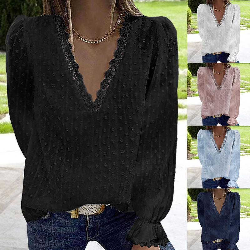 Women's Blouses & Shirts Fashion Sexy Lace Blouse Autumn Winter Flare Loose V-Neck Tops Female Women Long Sleeve Shirt Blusas Femininas Clot