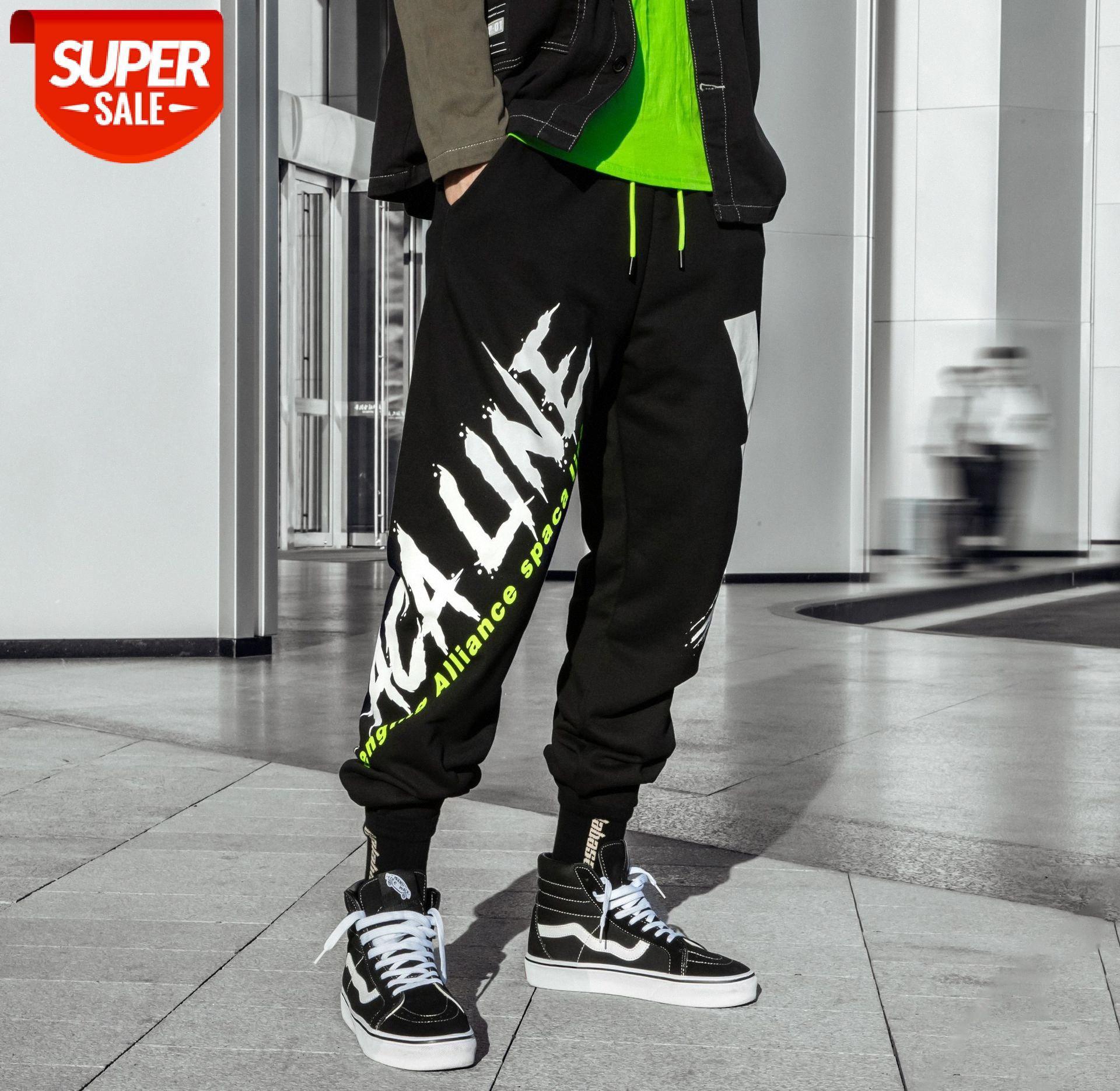 Sokak Rahat Tayt Pantolon erkek Mektup Baskı Hip-Hop Ayaklar Spor Pamuk Uzun # TD4J