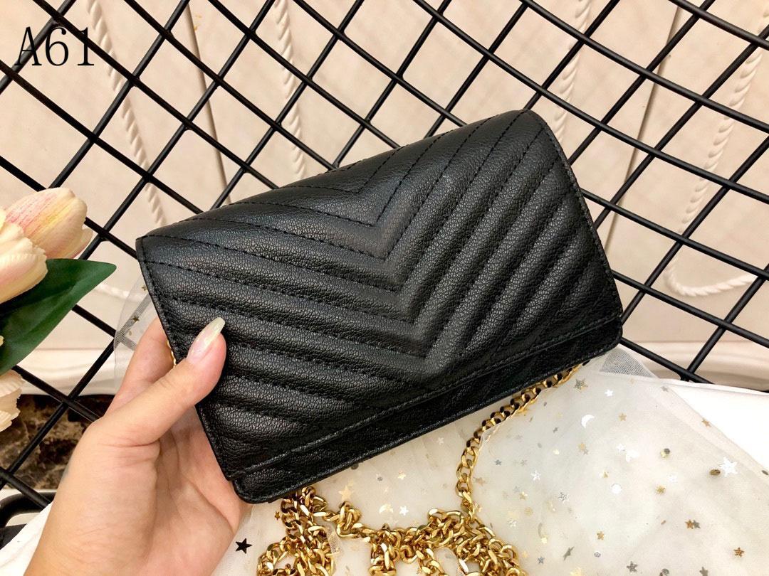 Top Quality designer women Luxury handbags bags Genuine Leather stripe square Metal chain womens handbag large capacity Buckles Fashion shoulder bag Black 3618
