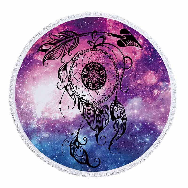 Mandala Evren Yıldızlı Gökyüzü Dream Catcher Yuvarlak Plaj Havlusu 150 cm Fil Plaj Havlusu Mikrofiber Havlu Serviette de Plage