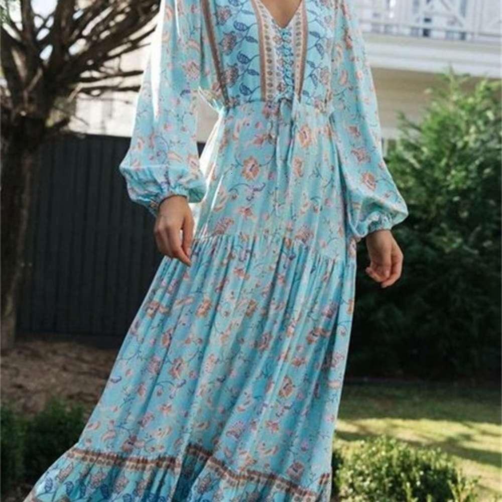 Повседневные платья, позиционирующие V-образным вырезом осень печать 2021 с длинным рукавом шнурок на талии DRS G7-0746
