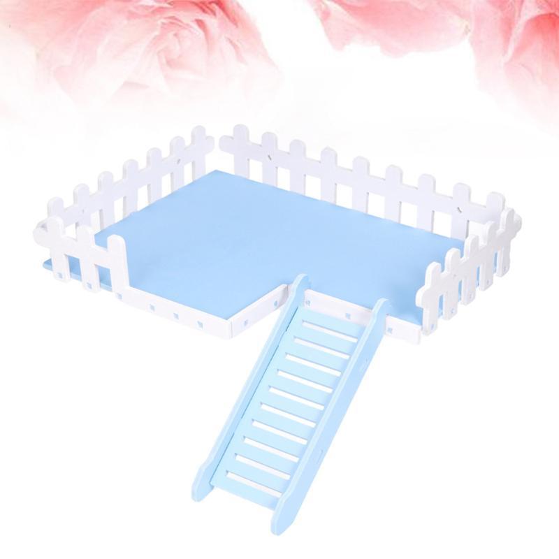 Outros suprimentos de pássaros Set Parrot Hamster Fence de Madeira Escada e Plataforma Esquilo Escalando Engraçado Pequeno Pet Tocando (Azul)