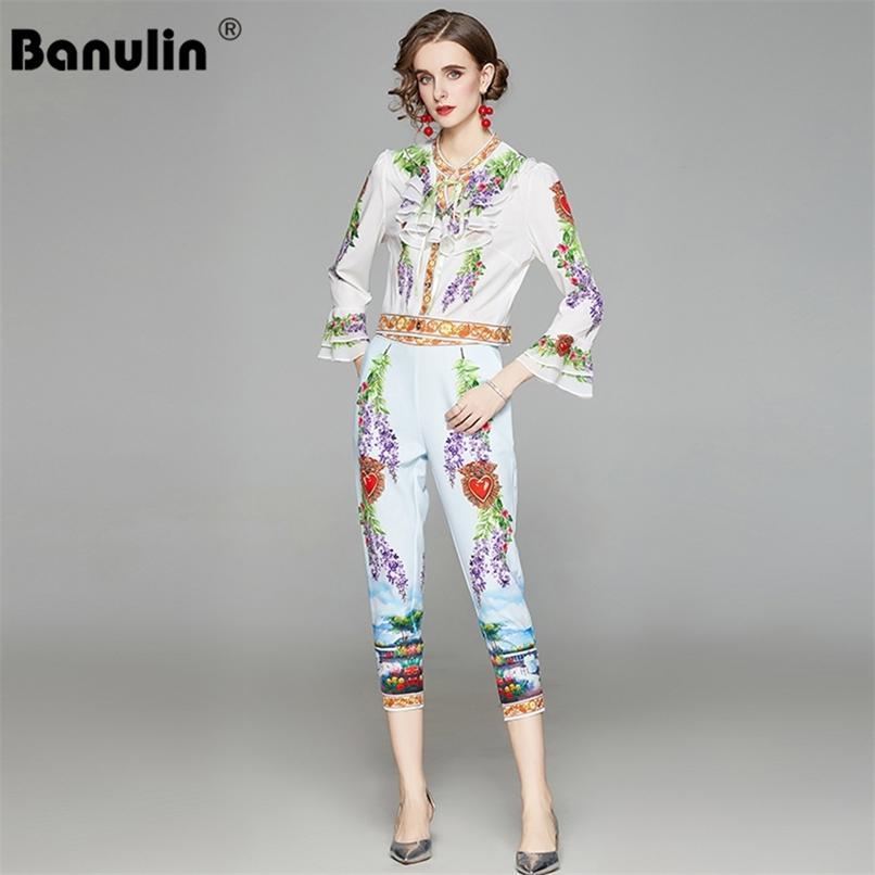 Summer Fashion Runway Elegante Mulheres Sets Ruffles Flare Manga Tops + Floral Lápis Calças 2 Duas Peças Definir roupas 210521