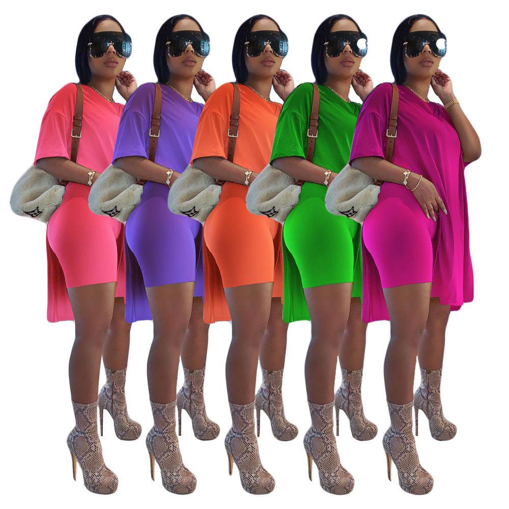 Frühling und Sommer 2021 Neue Frauen Mode Designer Kleidung allmählich Lose Kurzarm Shorts Anzug Zwei Teile Sets
