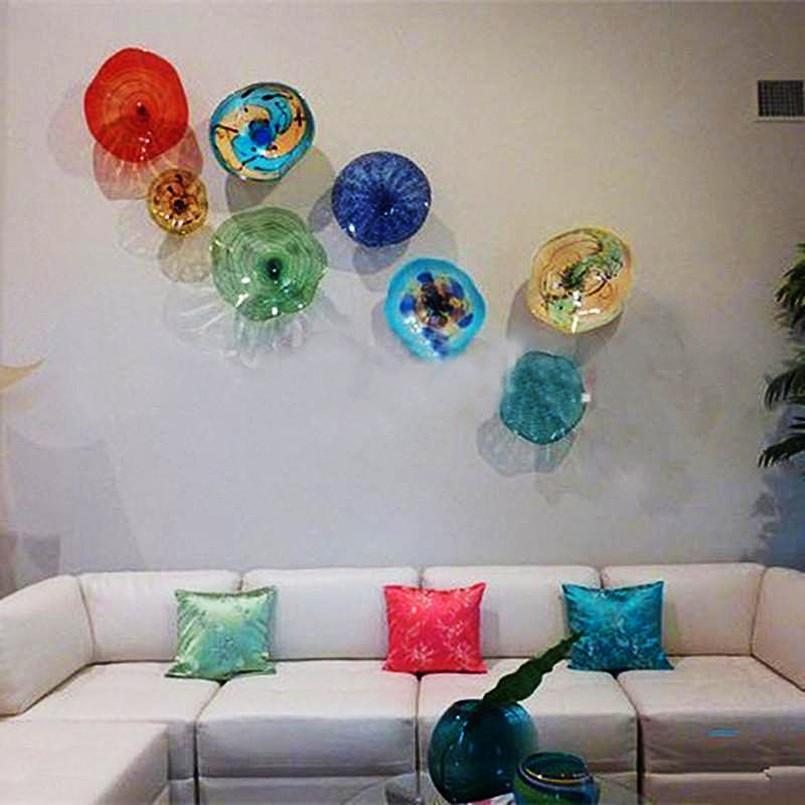 Murano lâmpadas decoração americana mão soprada artes lâmpada flor vidro placas de parede