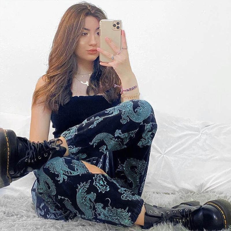 Calças Femininas Capris Dragão Imprimir Carga Mulheres Capered Cenoura Solto Calças Verão Casual Streetwear Lady Bandage Cintura Lace Up