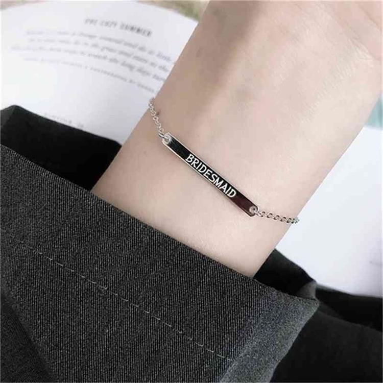 Los anillos de compromiso de los pendientes de diseño, pulseras y collares de oro son los favoritos de las mujeres enlazan, letras de cadena letra inglesa S925 STRINLING PERSONALIDAD CO
